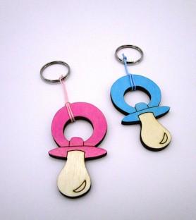 Birth wooden keychain