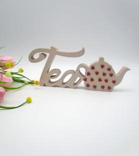 Tea written in wood